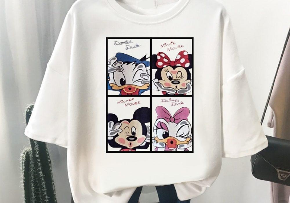 Disney-Kawaii-Mickey-Mouse-T-shirts-Women-Black-Tops-Ladies-Casual-O-Neck-T-shirt-Women